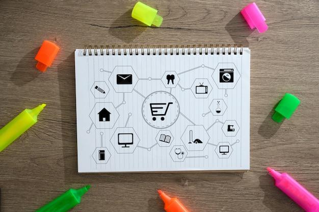 Pessoas negócio, use, tecnologia comércio eletrônico internet, global, marketing, plano de compra, e, banco Foto Premium