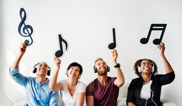 Pessoas, segurando, musical, ícones Foto Premium
