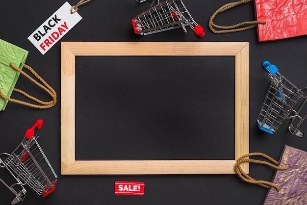 Photo frame, carrinhos de compras, pacotes e tags Foto gratuita