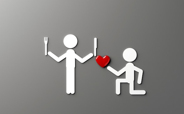 Piada n amor tema ilustração 3d Foto Premium