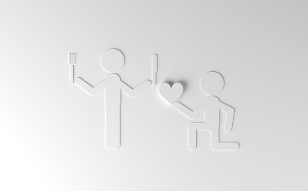 Piada na ilustração do dia dos namorados 3d Foto Premium