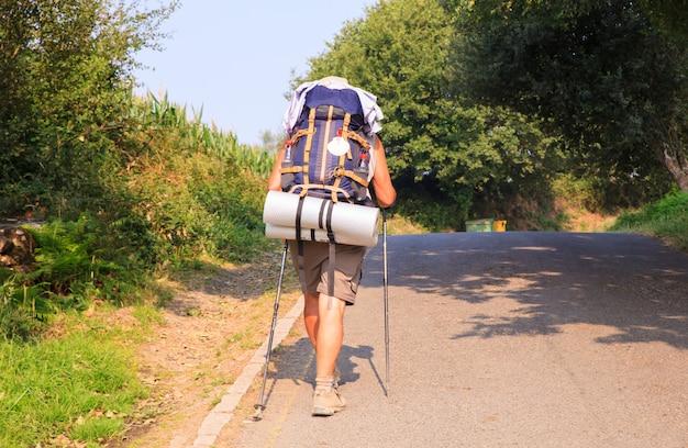 Pilgrimn ao longo do caminho de st. james Foto Premium