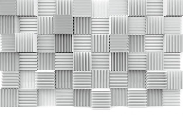 Pilha abstrata do fundo branco da parede das caixas do cubo do teste padrão luxuoso da arte. Foto Premium