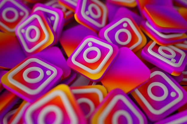 Pilha de 3d instagram logos Foto gratuita
