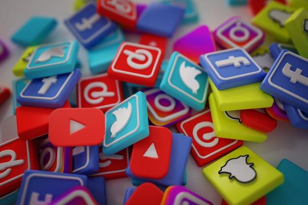 Pilha de 3d popular social media logos Foto gratuita