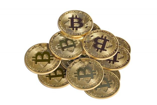 Pilha de bitcoin ouro Foto Premium