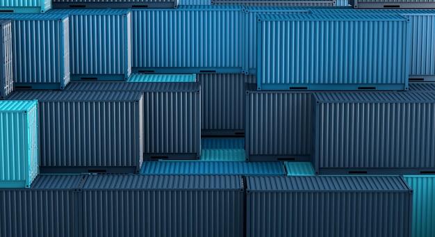 Pilha de caixa de contentores azul, navio de carga de carga para importação exportação 3d Foto Premium