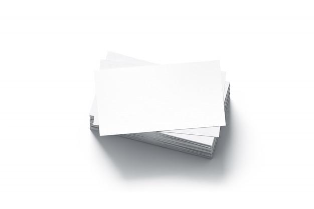 Pilha de cartões de visita em branco branco simulado acima Foto Premium
