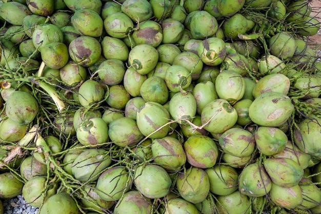 Pilha, de, coco, grupo, de, cocos, corte, de, coqueiro Foto Premium