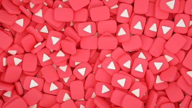 Pilha de fundo de ícones 3d do youtube Foto Premium
