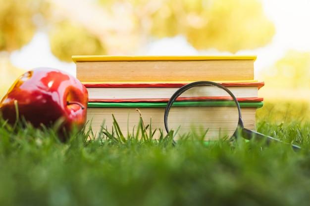 Pilha de livros perto de apple e lupa na grama Foto gratuita