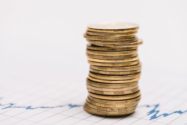 Pilha de moedas de ouro sobre o gráfico do mercado de ações Foto gratuita