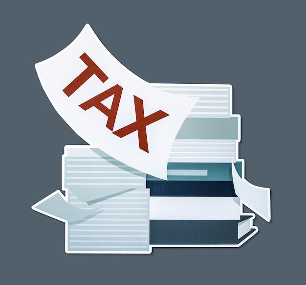 Pilha de papéis e ilustração do conceito de imposto Foto gratuita