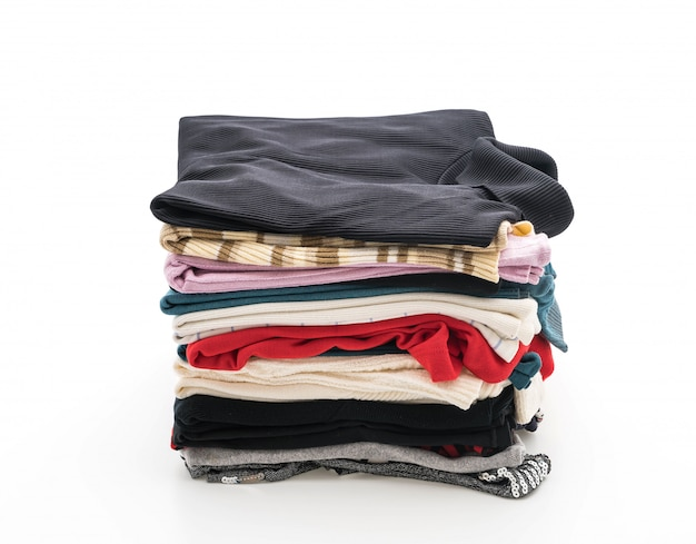 Pilhas de roupas em branco Foto Premium