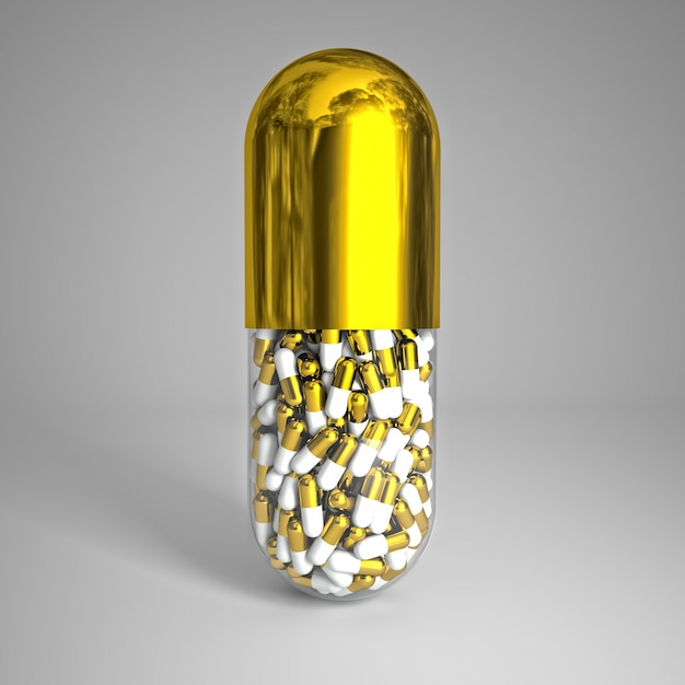 Pílula dourada Foto Premium