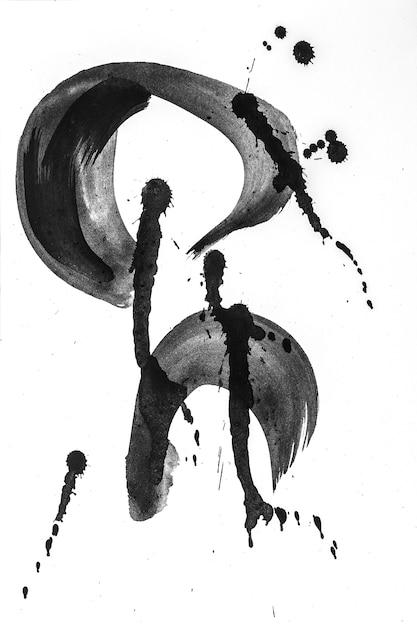 Pinceladas abstratas e salpicos de tinta em papel branco Foto Premium