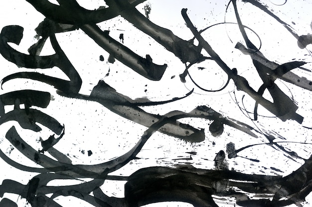 Pinceladas abstratas e salpicos de tinta no fundo de papel Foto Premium