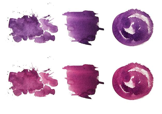 Pinceladas de aquarela colorida. tintas aquarela. tinta de cor lavanda Foto Premium