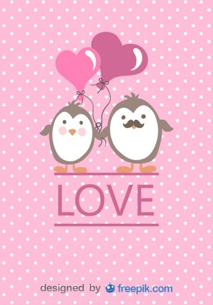Pinguins dos desenhos animados casal em cartão de amor dia dos namorados