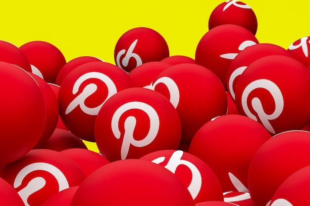 Pinterest logotipo emoji 3d render em fundo transparente, símbolo de balão de mídia social com pinterest Foto Premium