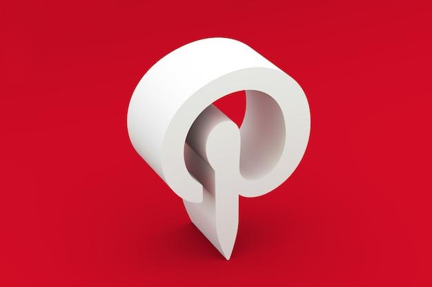 Pintrest logo renderização em 3d Foto Premium
