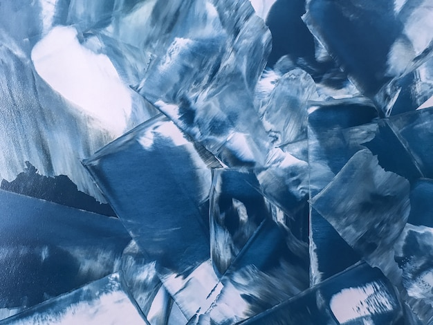 Pintura abstrata arte fundo azul marinho e branco cores, Foto Premium