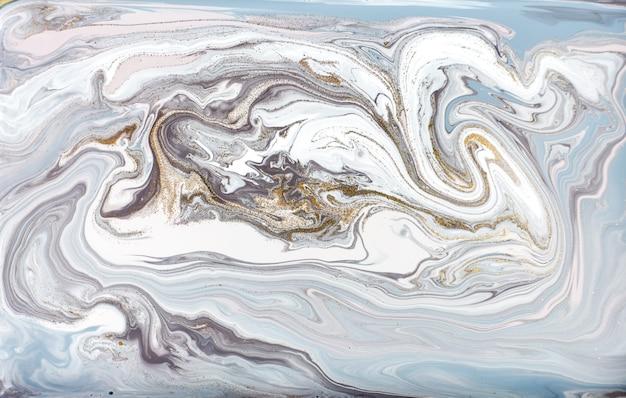 Pintura azul e roxa com glitter dourado. abstrato líquido. Foto Premium