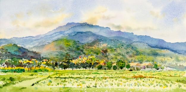Pintura de paisagem em aquarela colorida de cordilheira com campo de milho de fazenda em vista panorâmica e sociedade rural de emoção, fundo de horizonte de beleza da natureza. ilustração abstrata de pintados à mão na ásia. Foto Premium