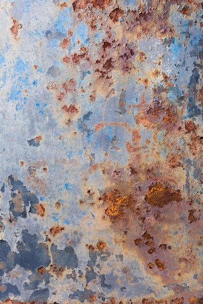 Pintura descascada e fundo de metal velho enferrujado Foto Premium