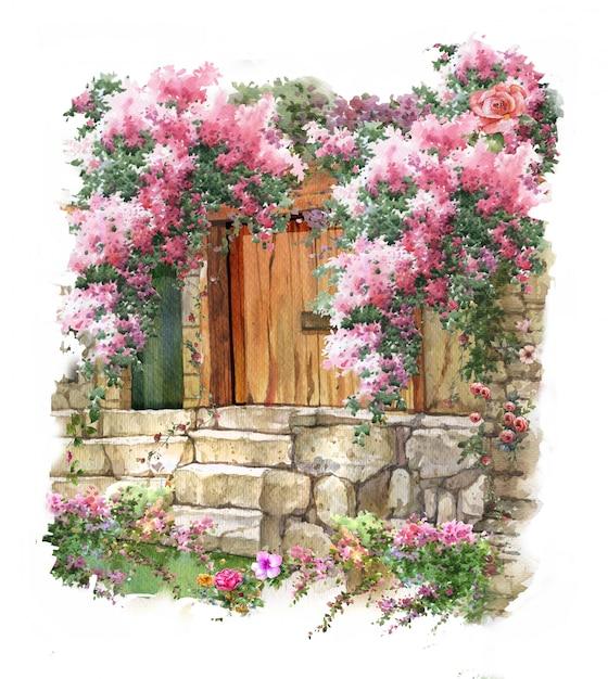 Pintura em aquarela abstrata flores coloridas. primavera com edifícios e paredes Foto Premium