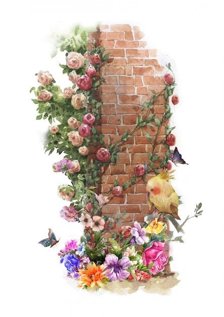 Pintura em aquarela abstrata flores coloridas Foto Premium