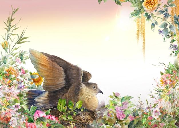 Pintura em aquarela com pássaros e flores, em fundo branco Foto Premium