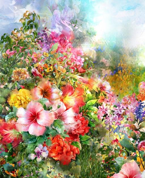 Pintura em aquarela de flores abstratas. primavera flores multicoloridas Foto Premium