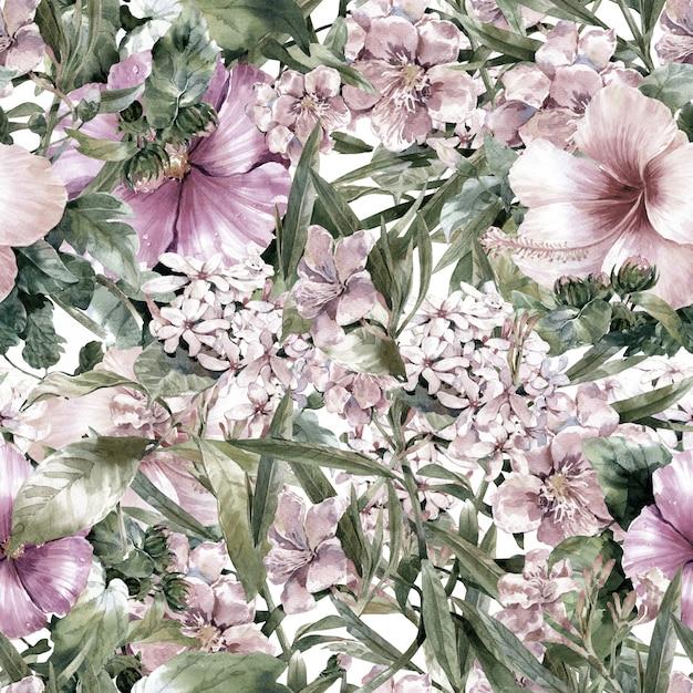 Pintura em aquarela de folha e flores sem costura padrão em branco Foto Premium
