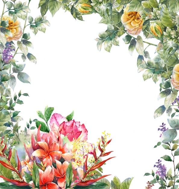 Pintura em aquarela de folhas e flores em branco Foto Premium
