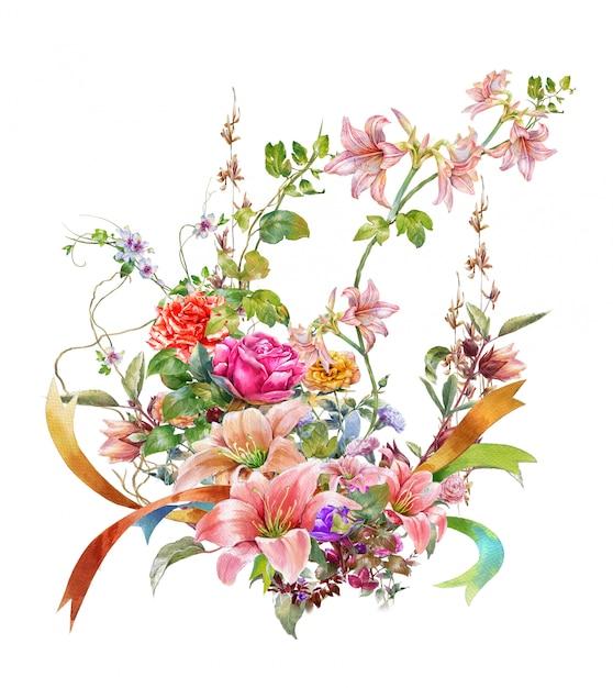 Pintura em aquarela de folhas e flores, em branco Foto Premium