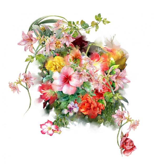 Pintura em aquarela de folhas e flores, em fundo branco Foto Premium