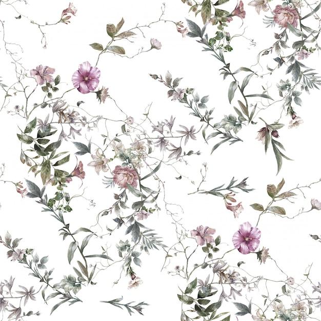 Pintura em aquarela de folhas e flores, sem costura padrão em branco Foto Premium