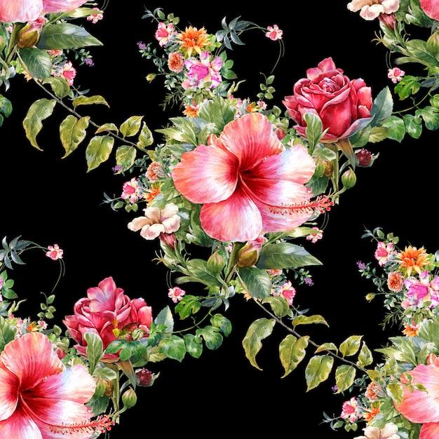 Pintura em aquarela de folhas e flores, sem costura padrão no escuro Foto Premium