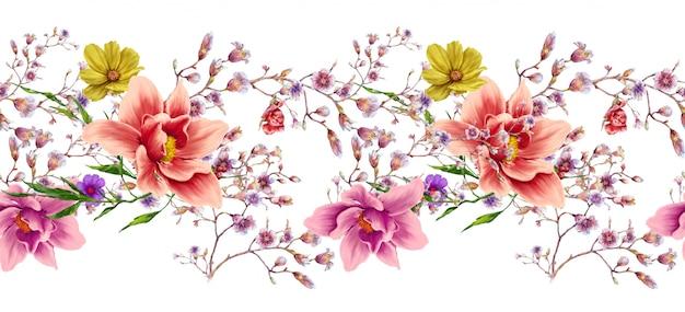 Pintura em aquarela de folhas e flores, sem costura padrão no fundo branco Foto Premium