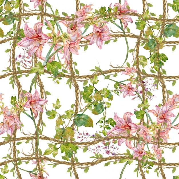 Pintura em aquarela de folhas e flores, sem costura padrão Foto Premium