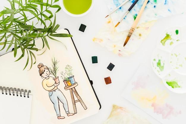 Pintura em aquarela de vista superior em cima da mesa Foto gratuita