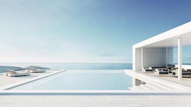 Piscina ao ar livre lounge beach & interior de luxo / renderização 3d Foto Premium
