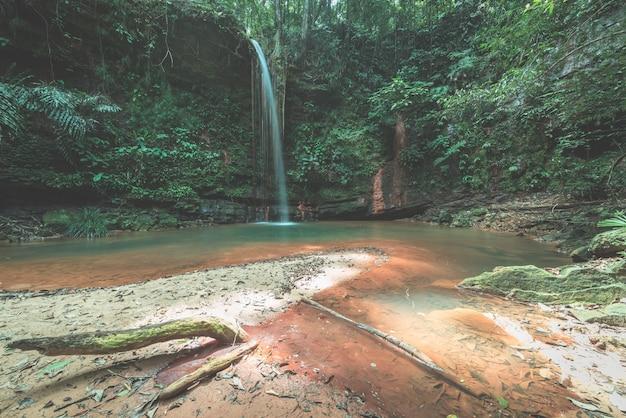 Piscina natural multicolorida escondida na floresta tropical do parque nacional lambir hills, bornéu, malásia. Foto Premium