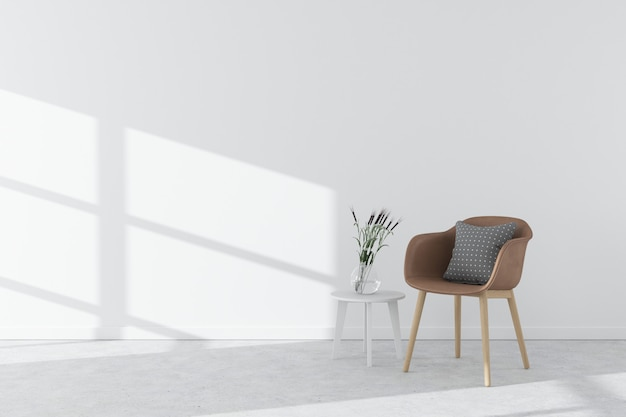Piso de concreto interior branco com poltrona, mesa lateral, vaso e luz do sol. estilo escandinavo Foto Premium