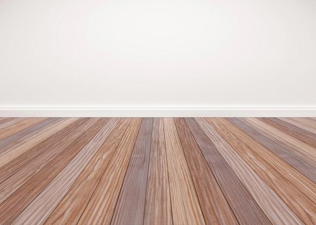 Piso de madeira de carvalho com parede branca Foto Premium