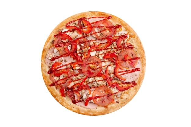 Pizza isolada no fundo branco. fast-food quente Foto Premium