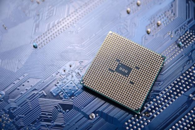 Placa de circuito. tecnologia. conceito de cpu de processadores de computador central. chip digital da placa-mãe.ai.close up Foto Premium