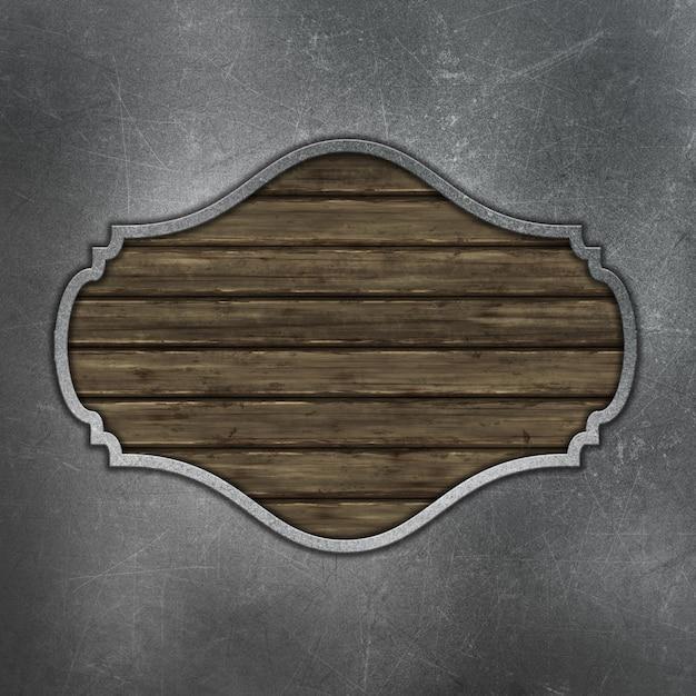 Placa de madeira de grunge em fundo de metal riscado Foto gratuita