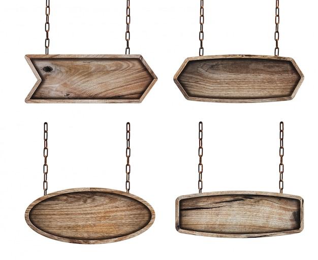 Placa de sinais de madeira com corrente no fundo branco Foto Premium